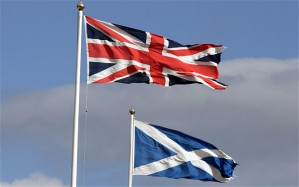 Flags of the UK and Scotland
