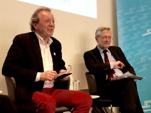 George Ferguson and Sir Peter Soulsby speaking at the event