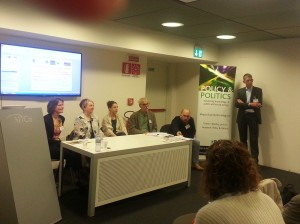 The panel from left to right: Heide Weishaar, Lori Dorfman, Kat Smith, Nicholas Freudenberg, Ben Hawkins, Oliver Razum (chair)